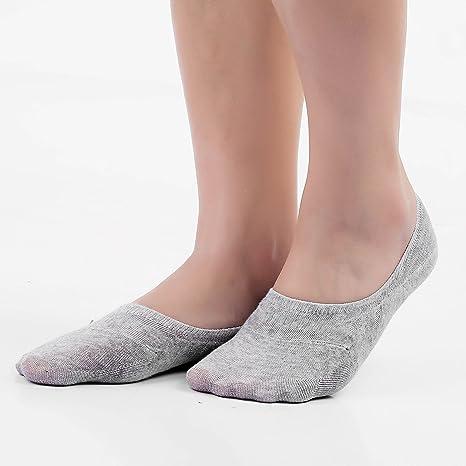 MaoXinTek Calcetines de algodón para hombre con corte bajo, calcetines invisibles y antideslizantes (negro, gris) negro negro