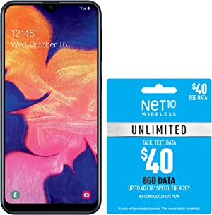 Net10 Samsung Galaxy A10e 4G LTE Prepaid Smartphone (Locked) - Black - 32GB - SIM Card Included - CDMA - with $40 Airtime Bundle