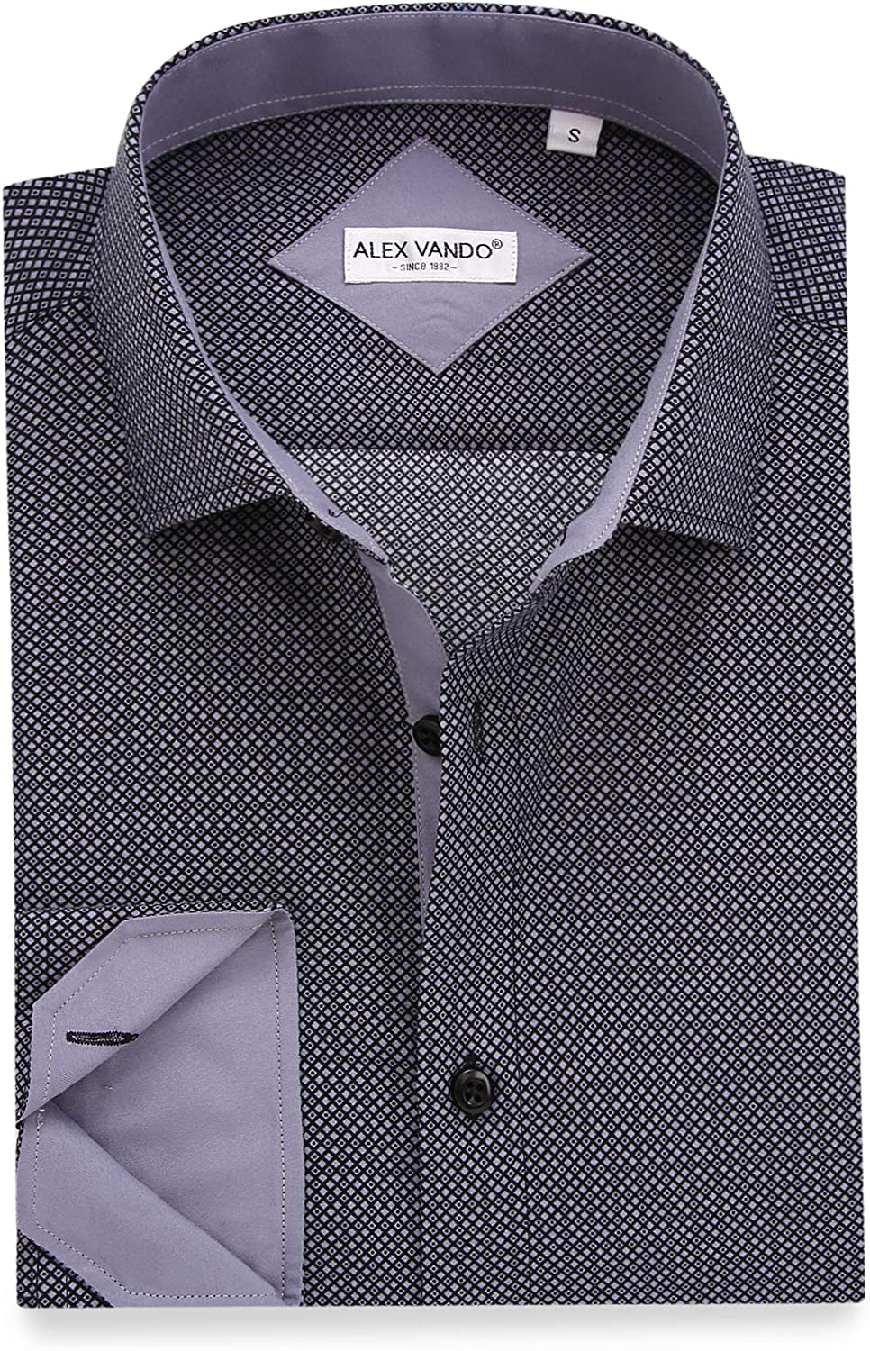Alex Vando Mens Printed Dress Shirts Long Sleeve Regular Fit Fashion Shirt at  Men's Clothing store