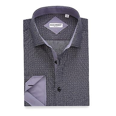 ce49c235145 Alex Vando Mens Casual Button Down Shirts Long Sleeve Print Men Shirt (Black130