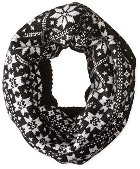 Sofia Cashmere Women's Fairisle Snood Scarf, Black Combo, One Size ...