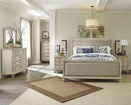 upholstered king bedroom sets. Ashley B693 Demarlos Bedroom Set - In Home White Glove Delivery Included  (5-PC Upholstered King Bedroom Sets