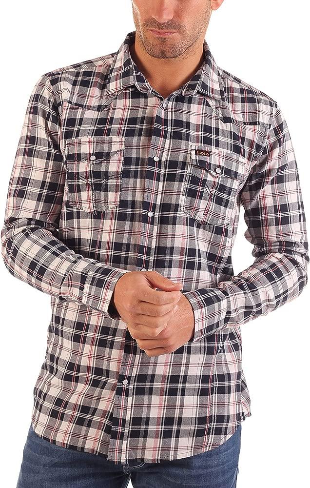 Lois Camisa Hombre Marvin Shirt Dave Azul Marino/Gris XL: Amazon ...
