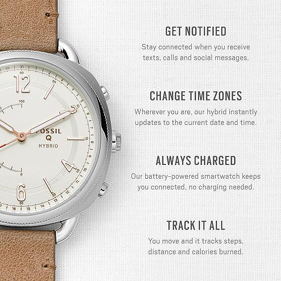 Montre Smartwatch Fossil Q Hybrid en cuir fin pour femme - FTW1201: Amazon.fr: Montres