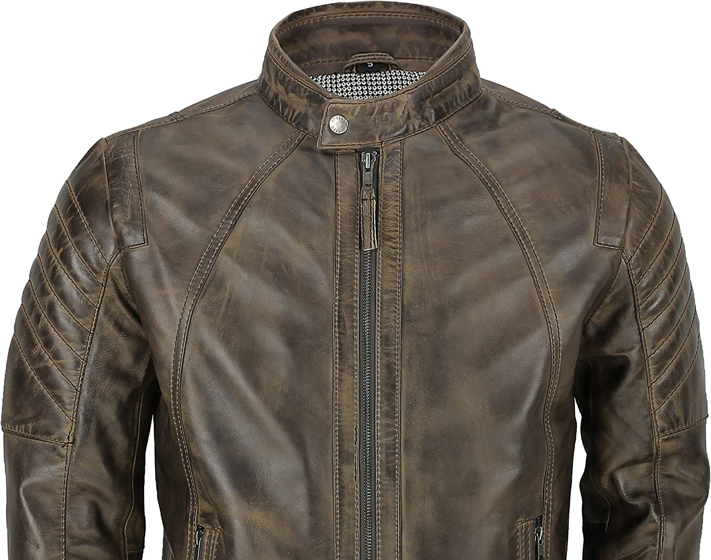 Xposed Luxen Mens Soft Real Leather Biker Jacket Smart Casual Slim Fit Vintage in Antiqued Dark Brown