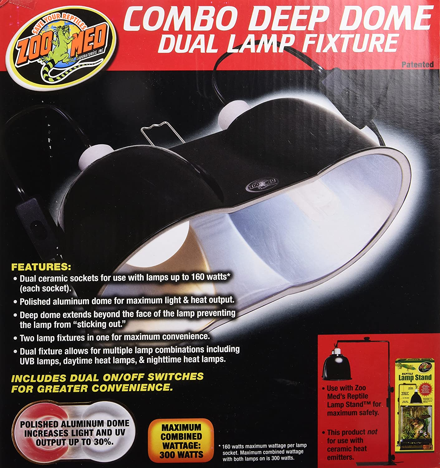 Amazon zoo med combo deep dome dual lamp fixture pet supplies arubaitofo Choice Image