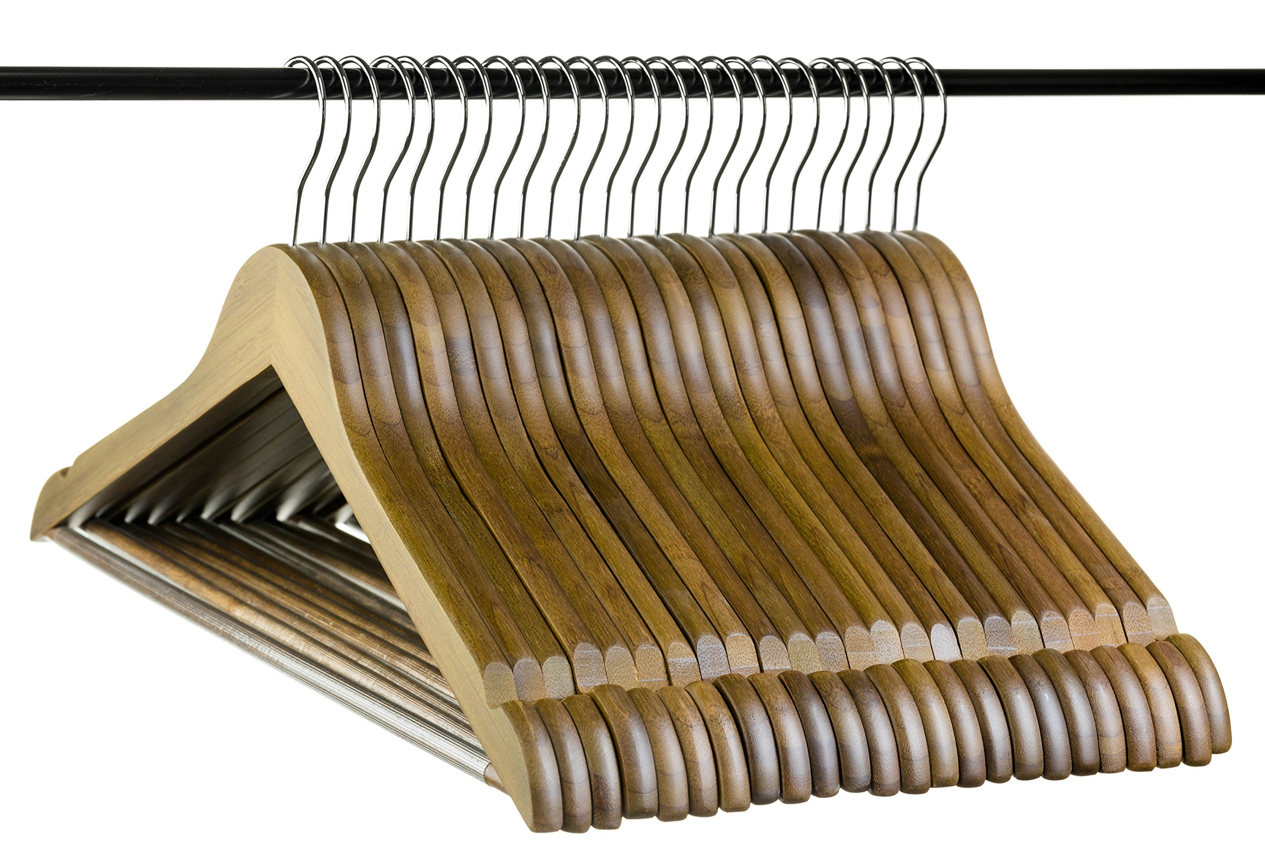 Neaties Bamboo Walnut Wood Hangers with Notches and Non-Slip Bar, 24pk by Neaties (Image #7)