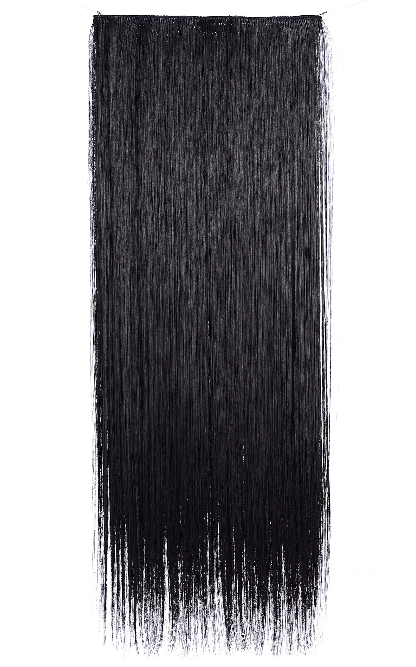 "Onedor 24"" Straight 3/4 Full Head Synthetic Hair Extensions 140g Clip-on Clip-in Hairpieces (4- Dark Brown)"