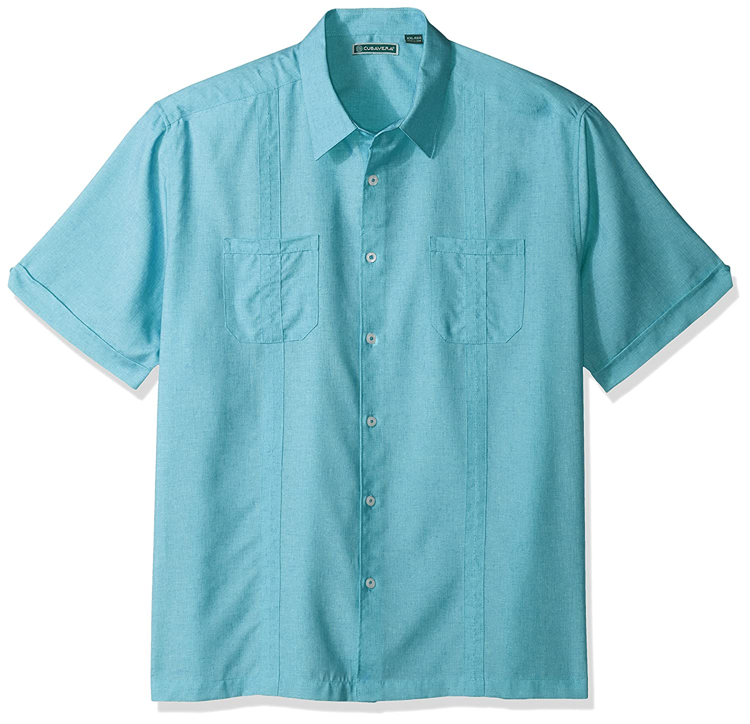 Cubavera Mens Short Sleeve Shirt with Contrast Front Yoke and Piping Detail CUWS7031