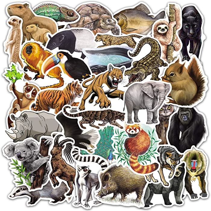 YAMIOW Waterproof Vinyl Sticker for Laptop, Water Bottle, Car, Bike, Travel Case, Skateboard, Guitar, Luggage, Book Decal Graffiti Stickers (50 pcs for Tropical Rainforest Animal Style)