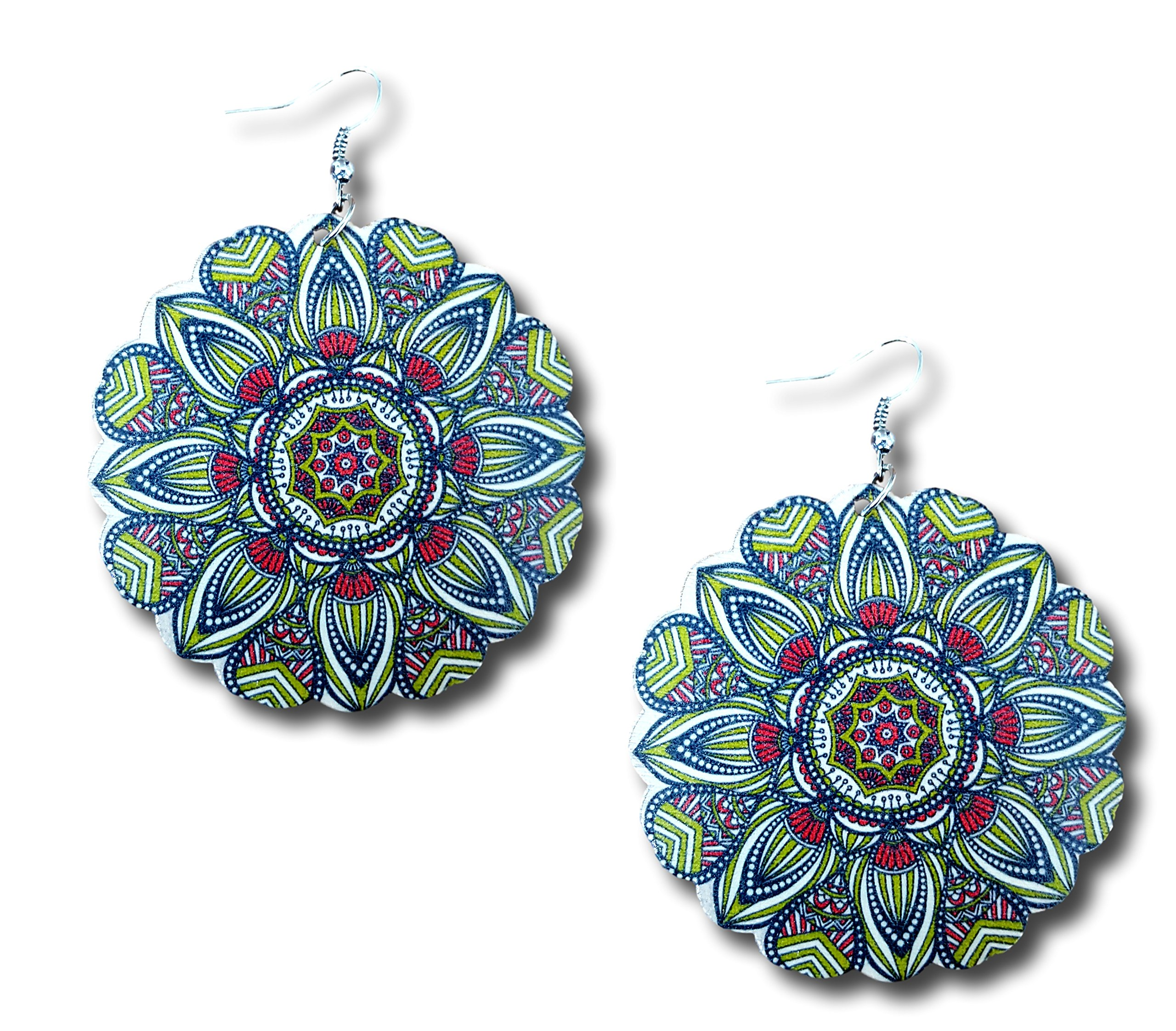 Wooden Circle Bohemian Boho Mandala Pattern Dangle Earrings by Pashal (Green/Red) by Pashal (Image #1)