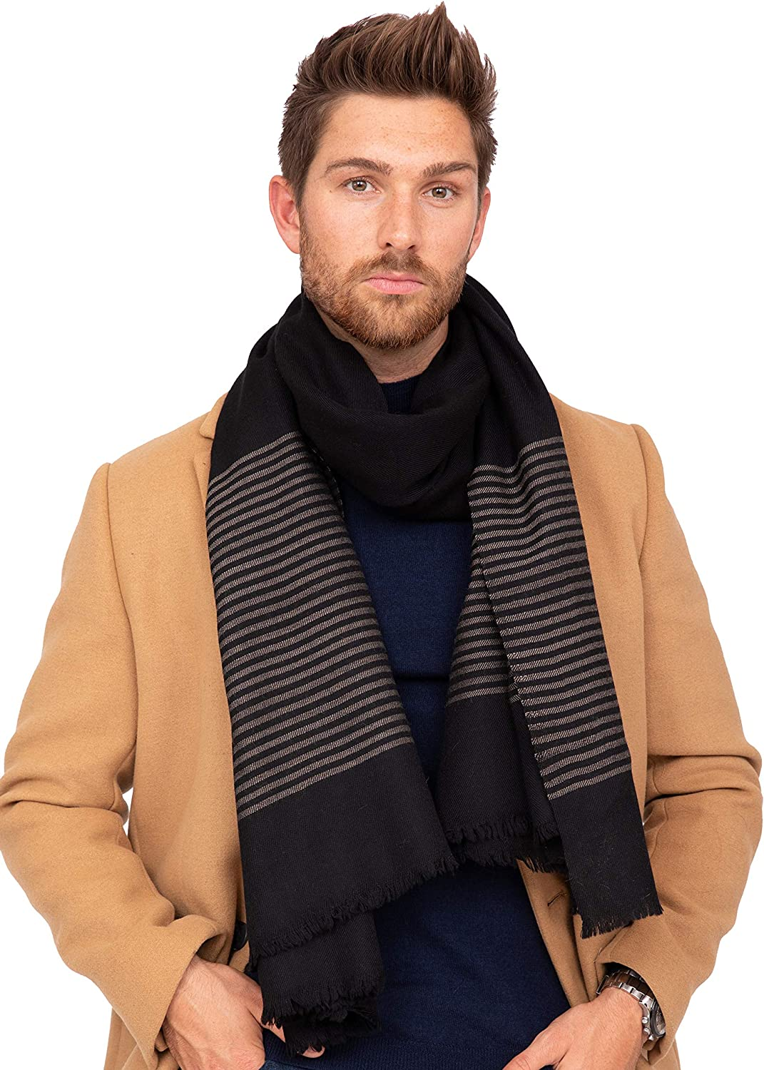 likemary Mens Merino Wool Blanket Scarf Oversize Muffler /& Travel Wrap Handwoven in Twill with Stripes 100 x 200cm