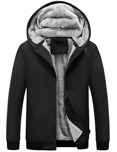 Yeokou Mens Winter Thicken Fleece Sherpa Lined Zipper Hoodie Sweatshirt Jacket