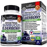 Sambucus Elderberry Capsules with Zinc & Vitamin C - Women & Men's Daily Herbal Supplement for Immune Support, Skin Health - Powerful Antioxidant - Natural Elderberries - Veggie Caps - 60 Capsules