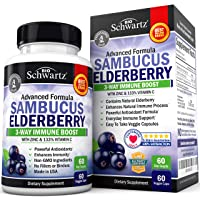 Sambucus Elderberry Capsules with Zinc & Vitamin C - Women & Men's Daily Herbal...
