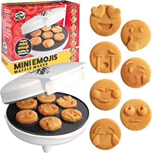 Mini Emojis Smiley Faces Waffle Maker - Create 7 Cool Unique Waffles or Pancakes with Electric Non Stick Waffler Iron - Featuring a Kiss Face, Heart Eyes, Smile & More, Fun Breakfast Gift for Kids