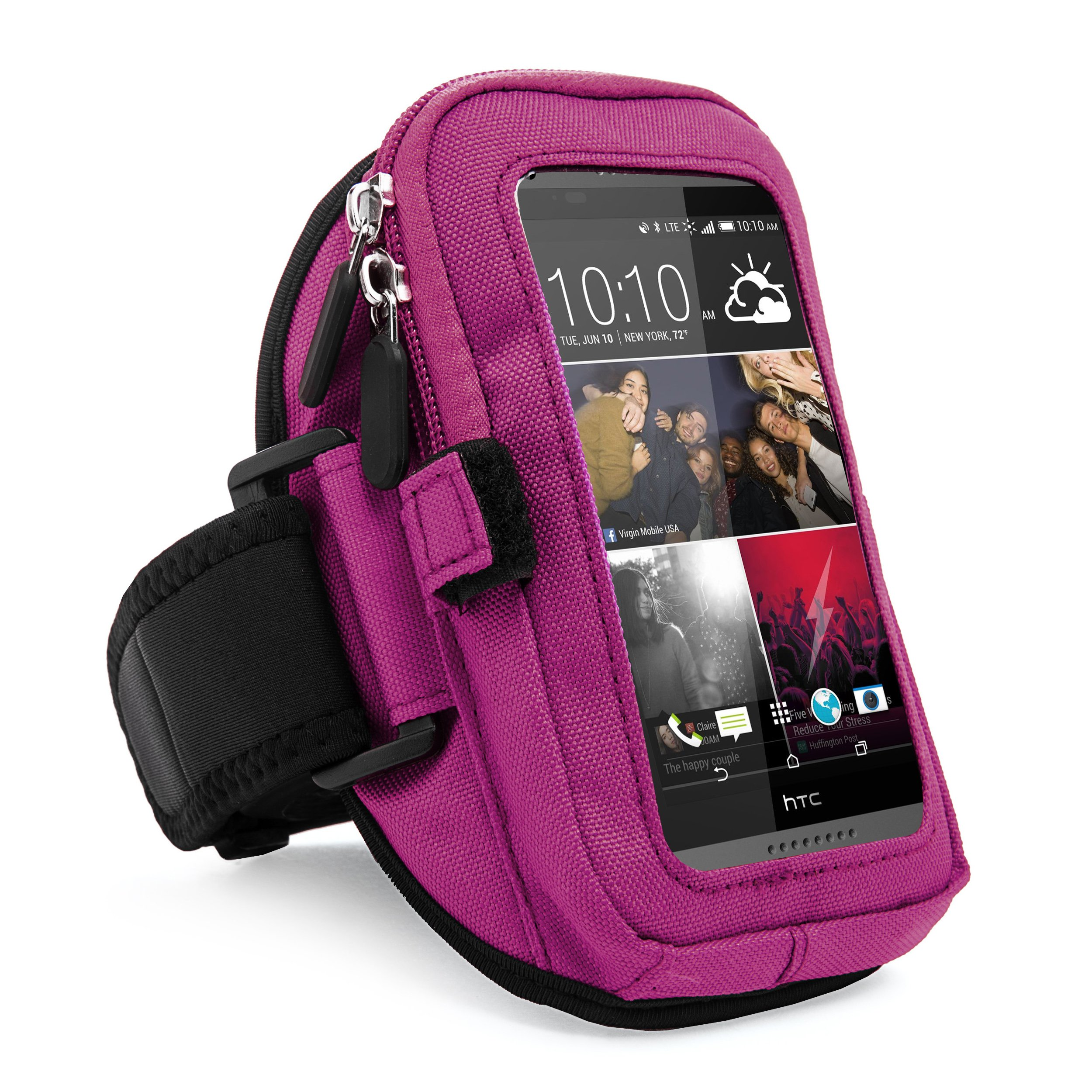 VanGoddy Zippered Sport Gym Running Armband w/Removable Strap & Card/Key Holder for HTC 10/One S9/Desire 530/628/630/825/830 Fit 4.7 to 5.5 inch Ios Android Windows smartphone (Purple)