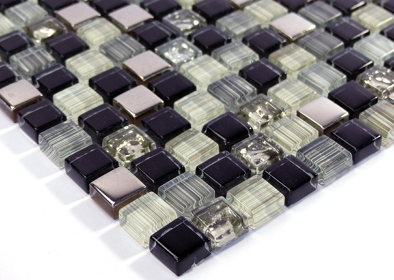 Fliesen Mosaik Mosaikfliesen Glas gl/änzend Alu Schwarz Bad WC K/üche 8mm Neu #S28