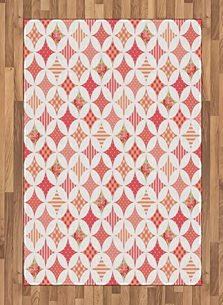Amazon.com: Lunarable Country Area Rug, Intertwined Circles Gingham ...