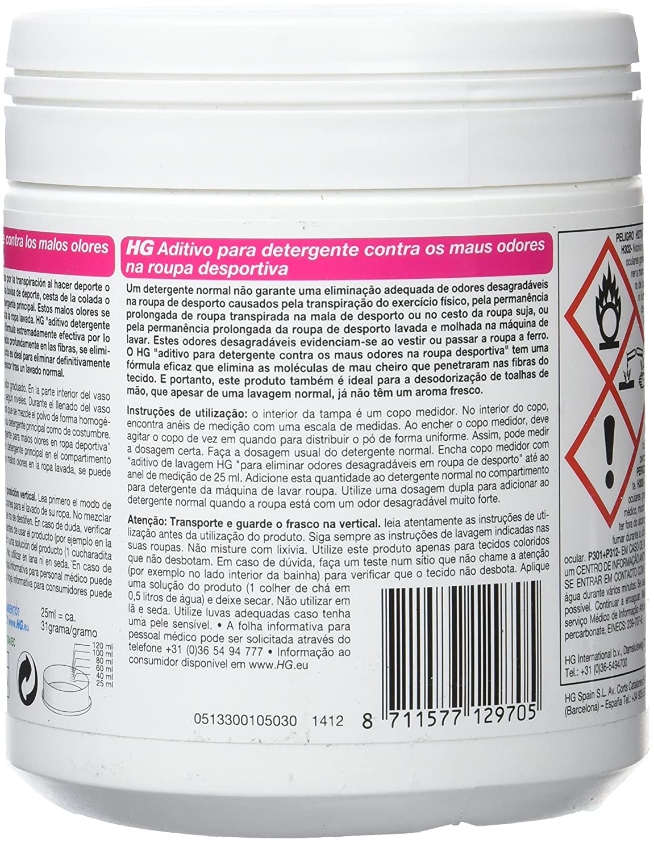 HG 133050130 - aditivo para detergente contra los malos olores en ropa deportiva (envase de 500 g): Amazon.es: Salud y cuidado personal