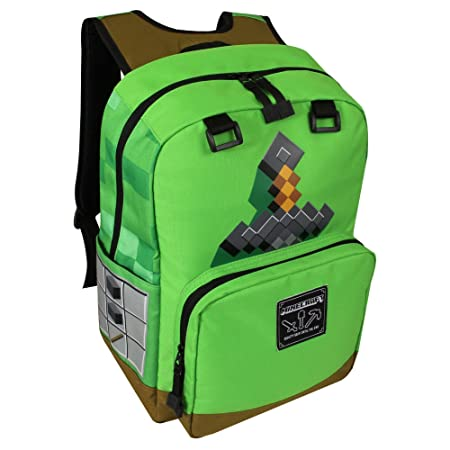 JINX Minecraft Sword Adventure Kids Backpack Green, 17 for School, Camping, Travel, Outdoors Fun Green, N A