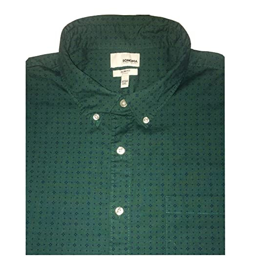 425f8230c8816e SONOMA Men's Goods For Life Poplin Button Down Shirt (XL, Dotprint Green)