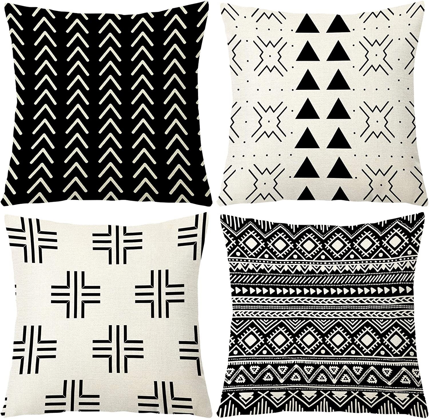 """Aoomzoon Pillow Covers 18x18 Set of 4, Modern Boho Geometric Decorative Throw Pillow Covers, Cotton Linen Home Decor Cushion Cover for Couch Sofa Living Room Outdoor Car (18""""x18"""", Black)"""