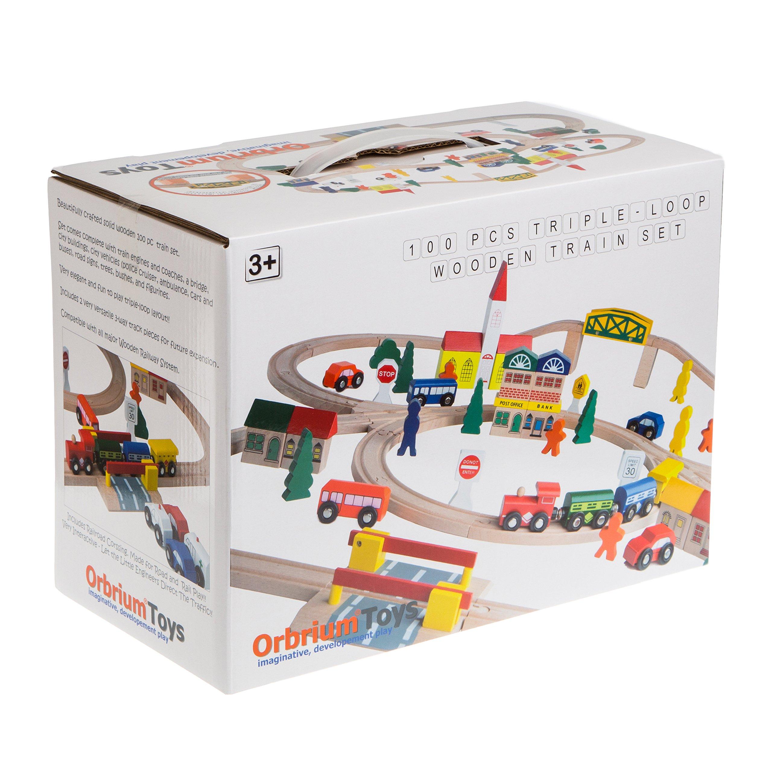 100-Piece Orbrium Toys Triple-Loop Wooden Train Set Fits Thomas Brio Chuggington by Orbrium