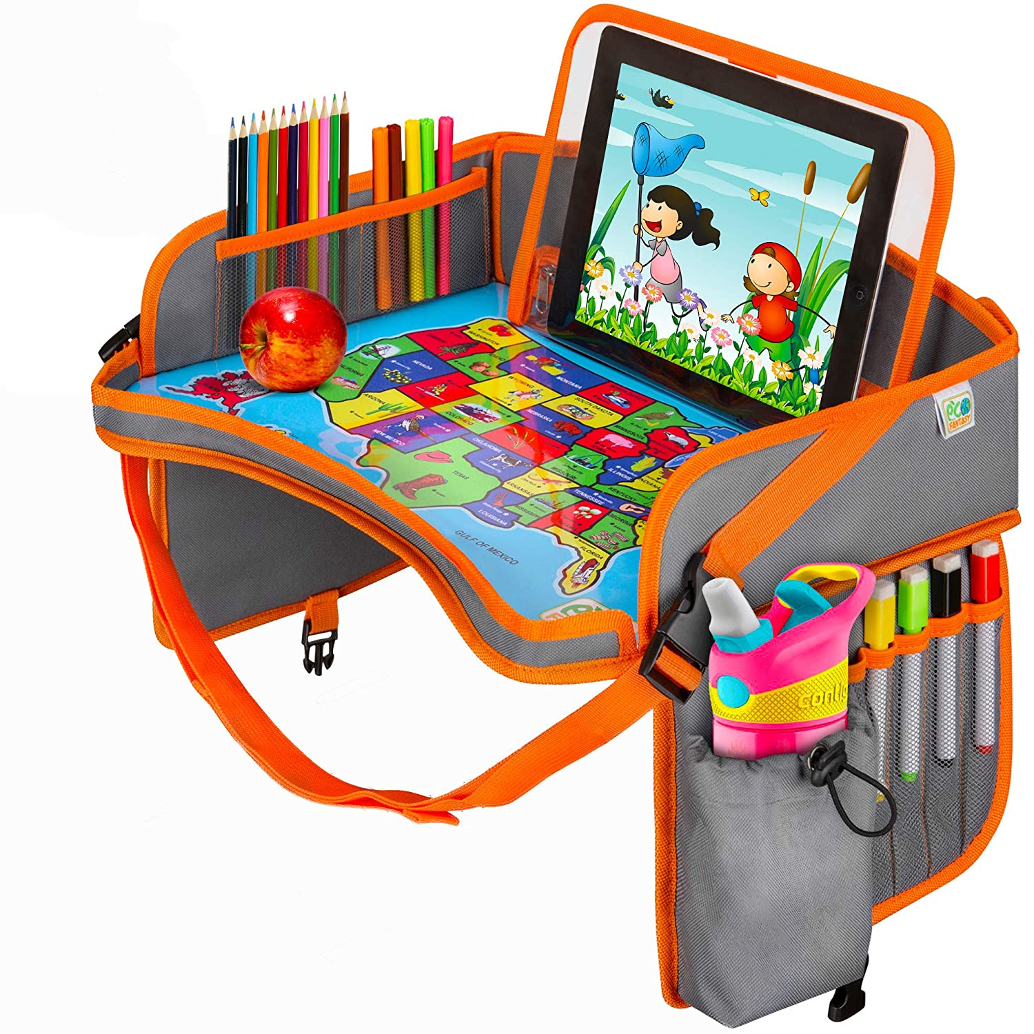 Portable Car Seat Tray Foldable Dry Erase Tray with Markers Snack Eating Tray iPad//Tablet Holder MyLapDesks Kids Travel Tray Activity Storage Lap Desk for Kids