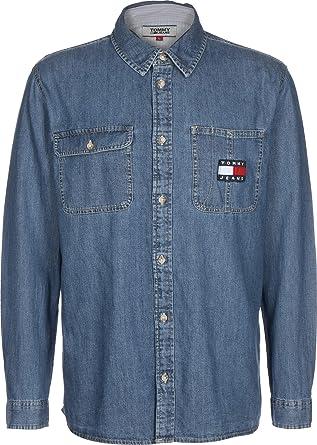 Tommy Jeans, Camisa de la Insignia Vaquera, Azul ...