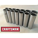 "Craftsman 14 Piece 1/2"" Drive 12 Point Deep Well Socket Set"