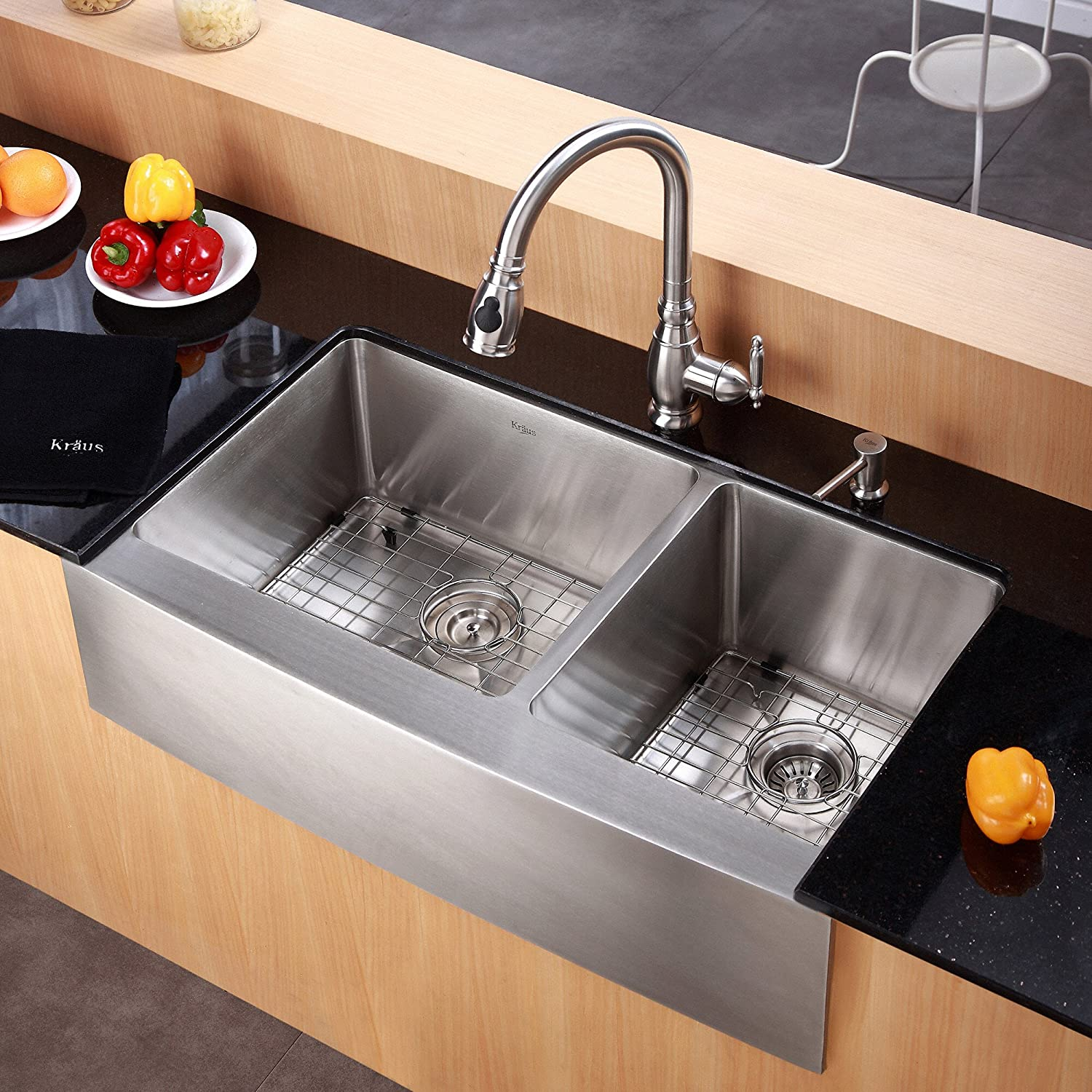 Kraus Khf203 36 36 Inch Farmhouse Apron 60 40 Double Bowl 16 Gauge Stainless Steel Kitchen Sink Amazon Com