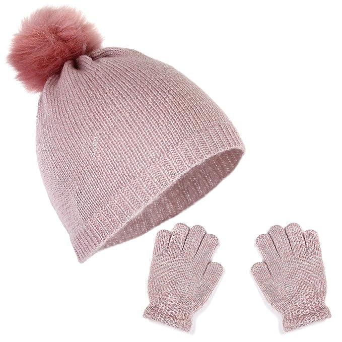 Girls Metallic Stretch Knit Beanie Lurex Fur Pom Winter Hat and Sparkle  Gloves Gift Set ( d42340b79951