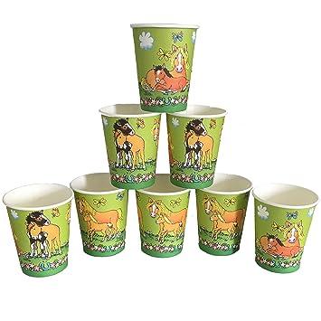 8 vasos * Mein Pony Hofmeister * para fiestas de cumpleaños ...