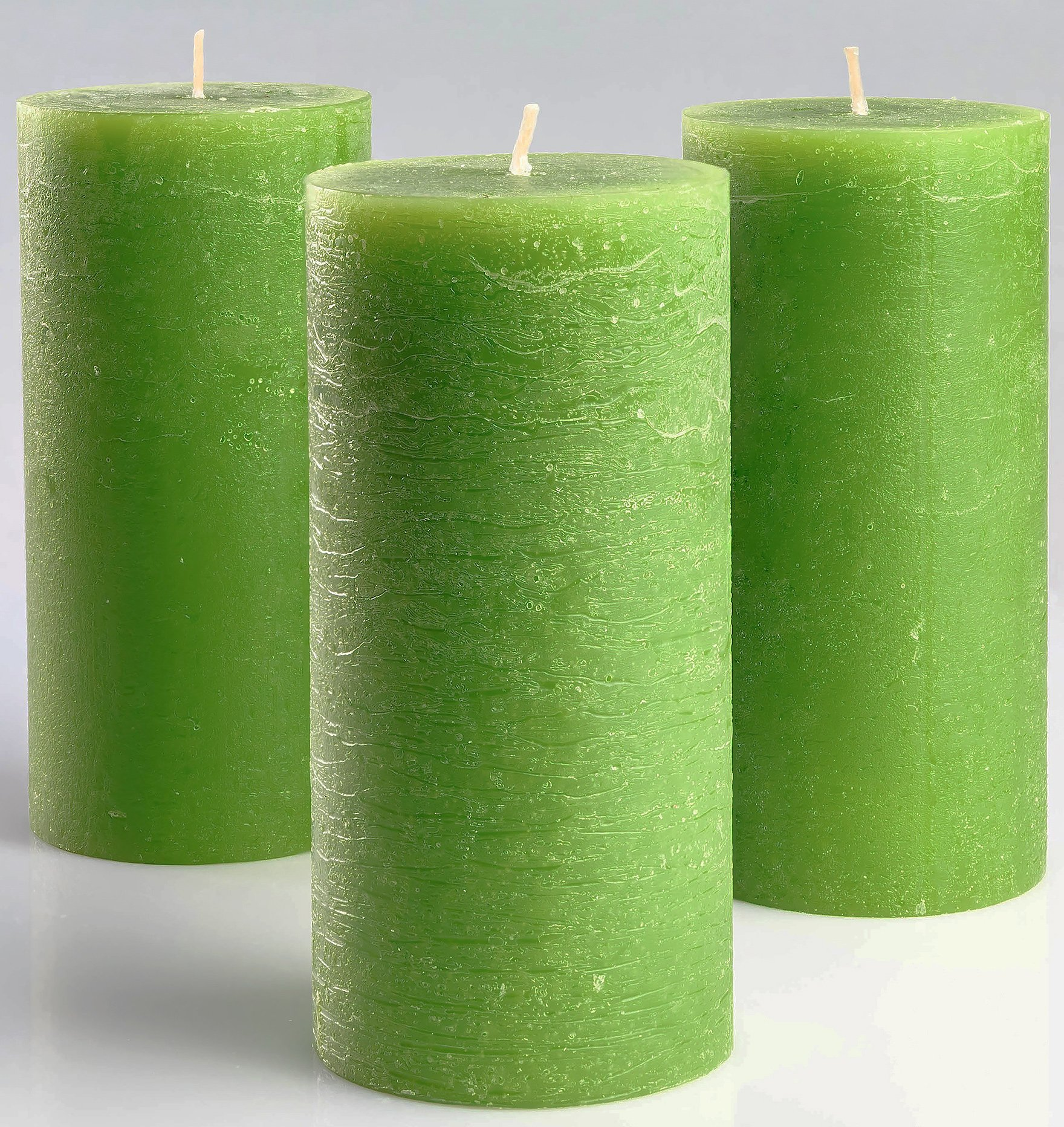 Melt Candle Company Set of 3 Green Pillar Candles 3'' x 6'' - Unscented Fragrance-Free Candles Weddings, Decoration, Restaurant, Spa, Church - Smokeless & Dripless