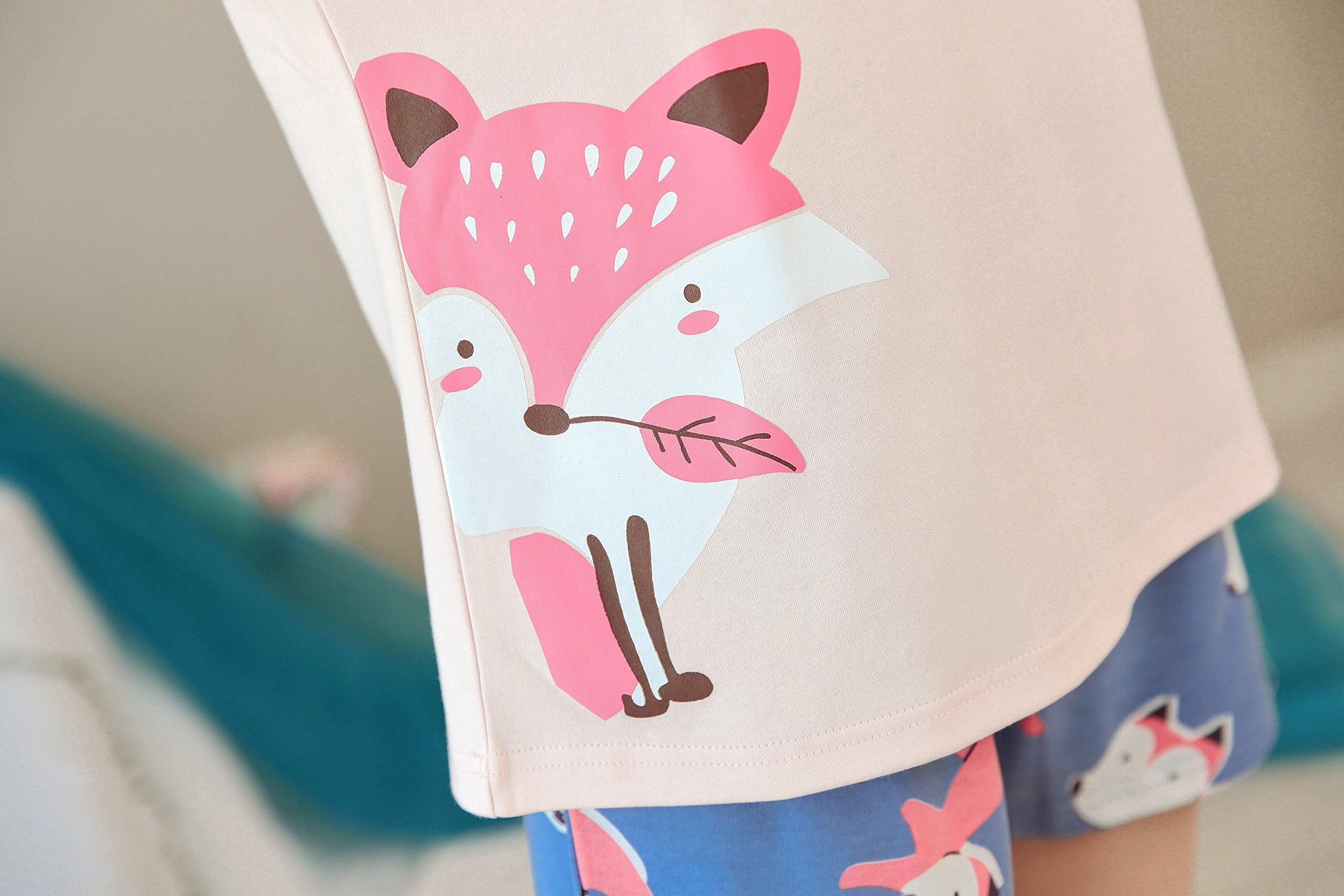 KINYBABY Big Girls Summer Pajama Set Cute Fox Printed Cotton Sleepwear Top&Shorts Pink Fox L by KINYBABY (Image #7)