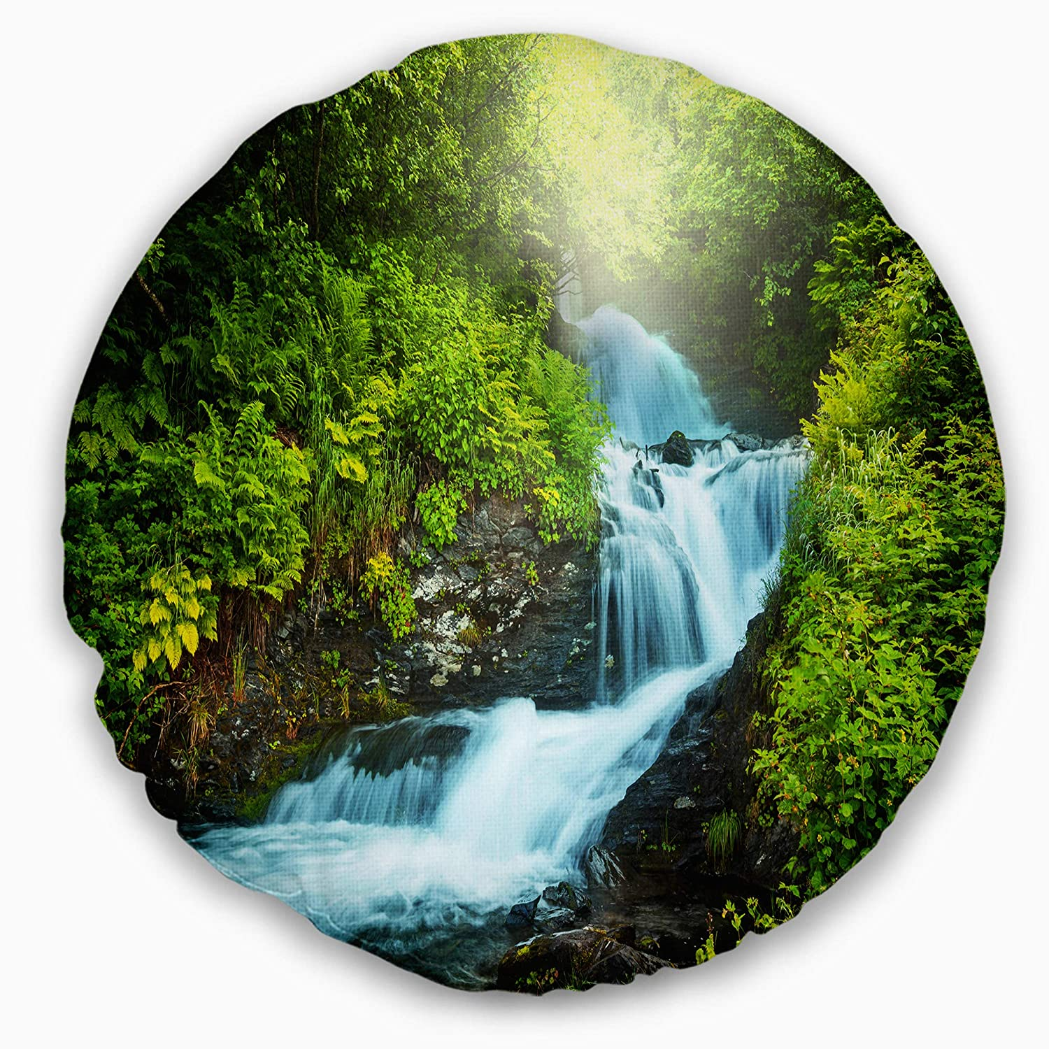 Sofa Throw Pillow 20 Insert Side Designart CU12909-20-20-C Blue Creek in Green Rain Forest Landscape Printed Round Cushion Cover for Living Room