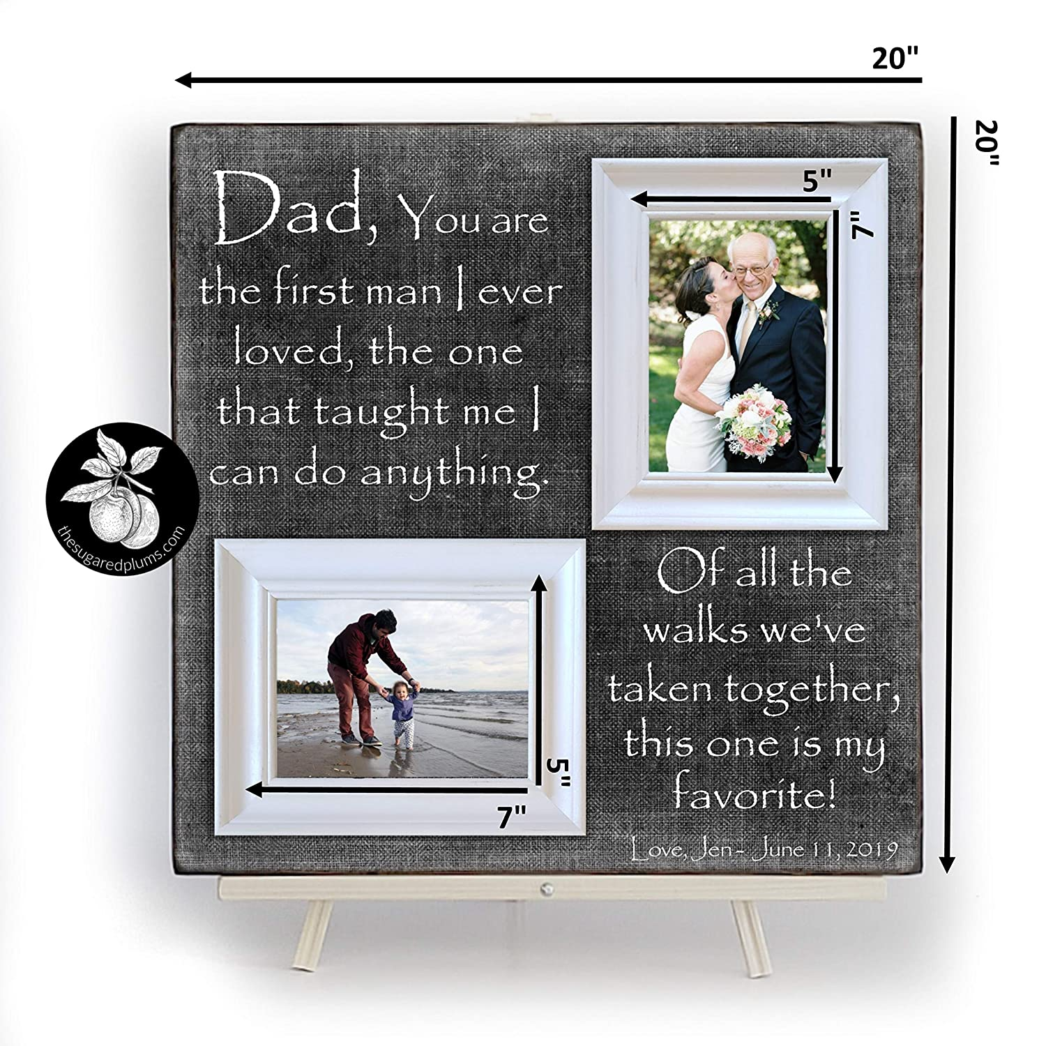Father of The Bride Frame Personalized Picture Frame For Dad Of All The Walks We Have Taken Together Wedding Gift for Dad Dad Gift