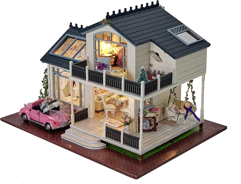 LED Light Wooden 3D DIY Music Dollhouse Miniature Furniture Doll House Kids Toys