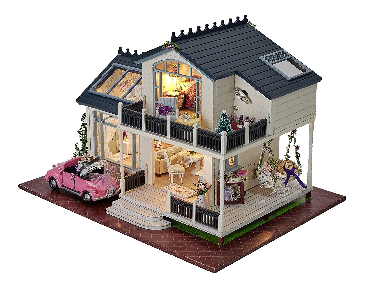 Amazon.com: DIY Wooden Dollhouse Miniature Kit Wood House Toy U0026 LED Light  With All Furnitures Car By Youku: Toys U0026 Games
