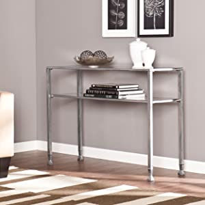 Southern Enterprises Glass Media Console Table, Silver Frame Finish