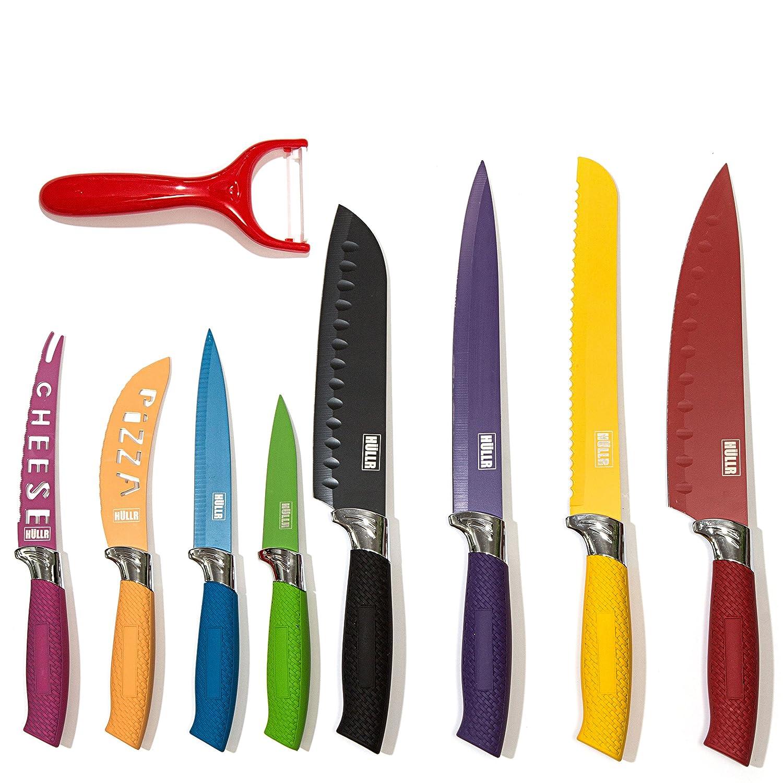 Amazon.com: HULLR 9-Piece Kitchen Knife Set Stainless Steel Knives ...