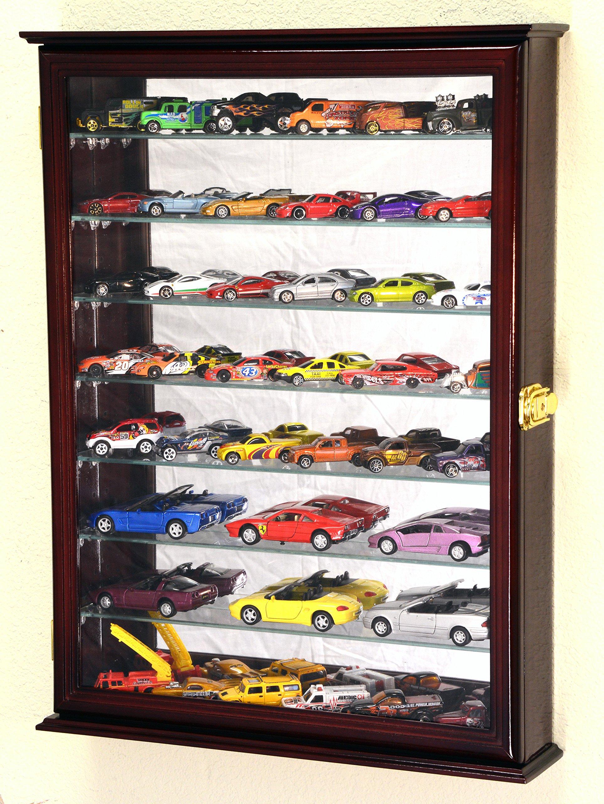 7 Adjustable Shelves Mirrored Hot Wheels/Matchbox/Diecast Cars / 1/64 1/43 Model Display Case Cabinet, Cherry