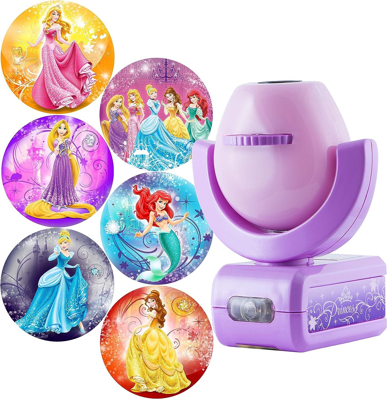 Projectables Disney Princess 6-Image LED Night Light Projector, Dusk-to-Dawn Sensor, Project Princesses Cinderella, Ariel, Aurora, Belle, & Rapunzel on Ceiling, Wall, or Floor, Pink/Purple, 11738: Home Improvement