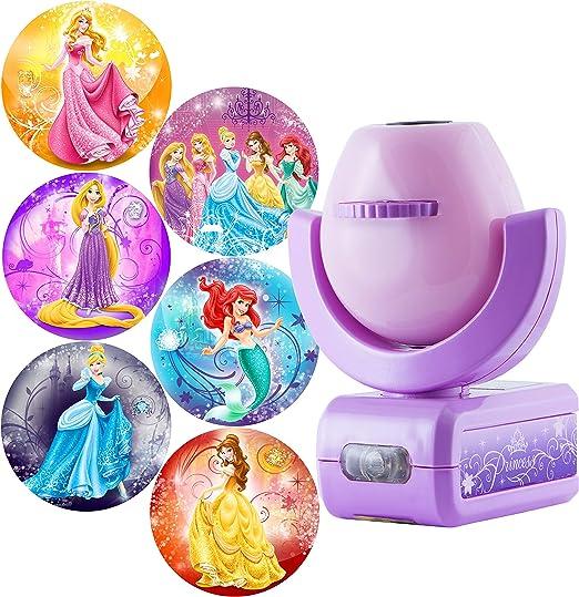 Projectables Disney Princess 6-Image LED Night Light Projector, Dusk-to-Dawn Sensor, Project Princesses Cinderella, Ariel, Aurora, Belle, & Rapunzel ...