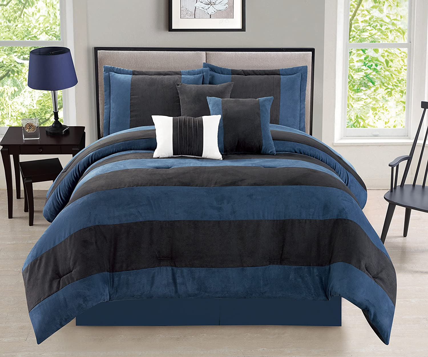 luxurious Navy Van Dam 7 Piece Micro Suede Soft Comforter Set - Bed in a Bag