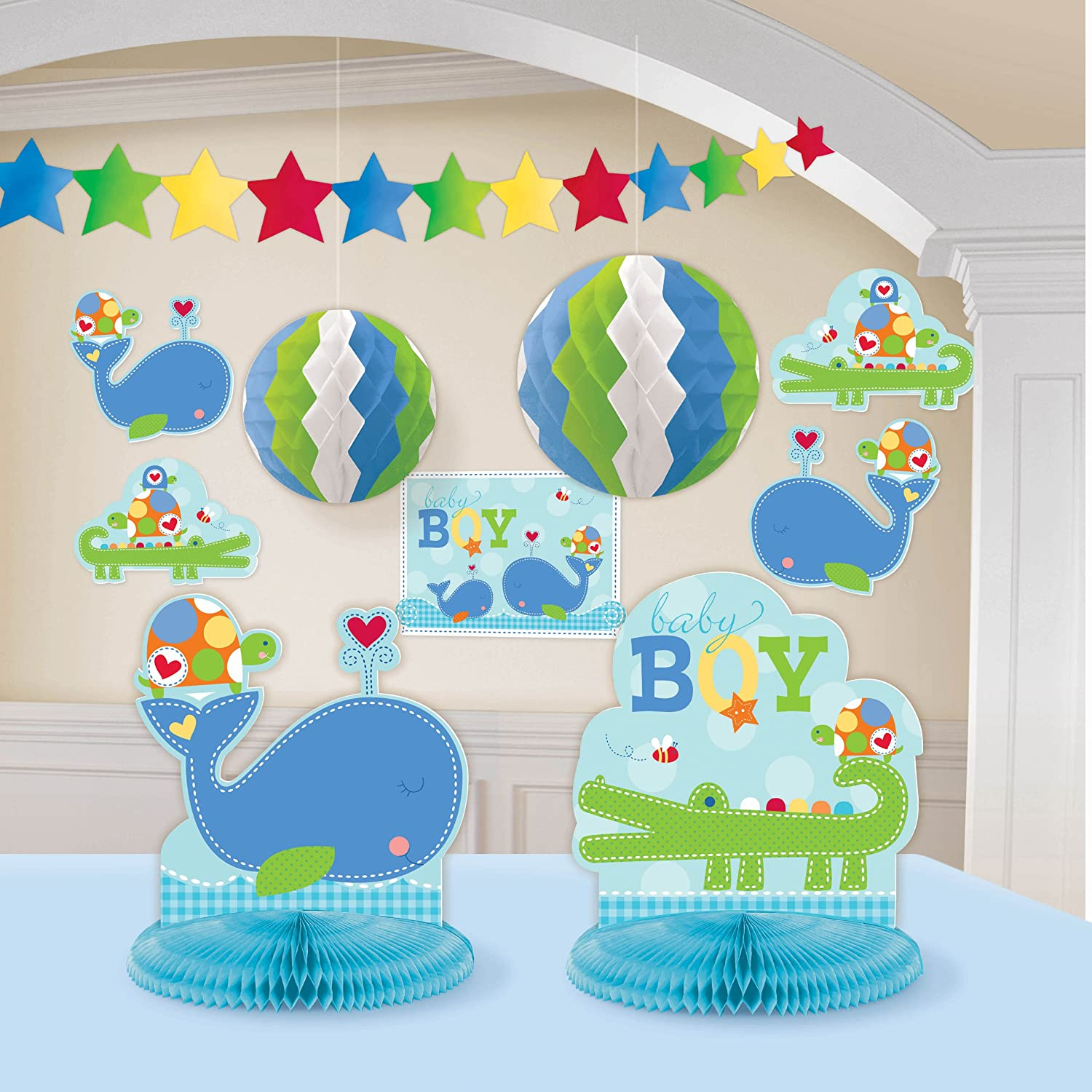 Ahoy Baby Room Decorating Kit Blue Boy Shower Birthday Supplies