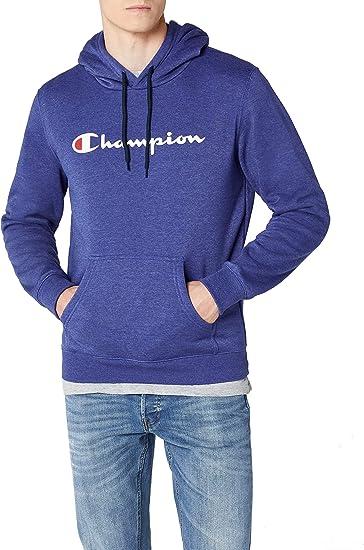Champion Classic Logo Sudadera con Capucha, Azul, S para Hombre