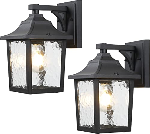 BEEZOK Outdoor Wall Light Wall Scones Exterior Sconce – 2 Pack Wall Mount Porch Lamp Fixture Rustproof Waterproof Matt Black Front Door Lantern with Water Rippled Glass for Doorway, Garage, Barn