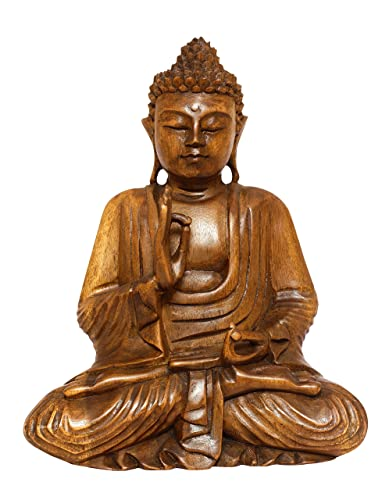 G6 Collection Wooden Serene Sitting Buddha Statue Handmade Meditating Sculpture Figurine Decorative Home Decor Accent Rustic Handcrafted Art Traditional Modern Contemporary Oriental Decor 8 Tall